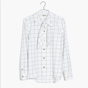 Madewell Flannel Tie Neck Shirt Windowpane XXS